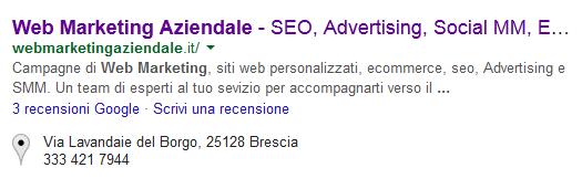 posizionamento del sito web su google